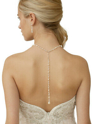 Mariell Ivory Pearl & Crystal Back Drop Bridal & Wedding Necklace, Handmade USA