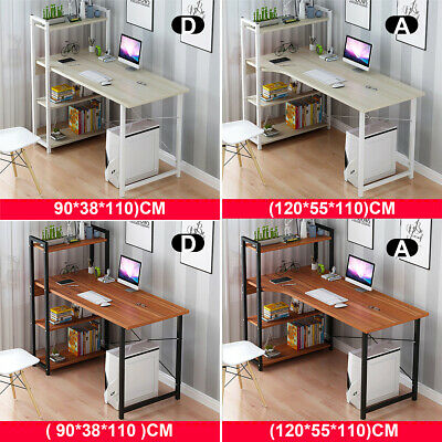 4 Tier Bookshelf Cabinet Computer Desk Table Laptop Study Writing Home Office