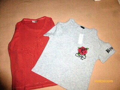 Girls Tops 10/12 Yrs Or/Grey..cotton Next/Kylie