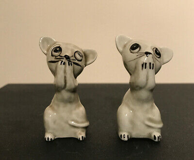 VINTAGE RETRO c1960s SCARED MICE ORNAMENT SET FOR BRANDY GLASS CAT AND MOUSE