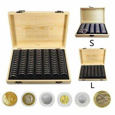 UK Wooden Coins Collection Display Storage Box Case for Coin 50/100 Protection