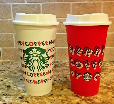 Starbucks 2019 Holiday Reusable Red Hot Cups 16 oz Plastic Merry Coffee Set of 2