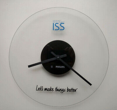 PHILIPS ISS  Wall Clock Klok Wanduhr Glass Glas Let's make things better