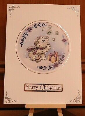 "Handmade Completed Cross Stitch Christmas Card Polar Bear 8"" x 6"""