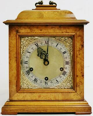 Superb Antique Burr Walnut Smiths London Musical Chime Caddy Top Bracket Clock