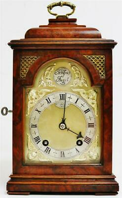 Glorius Antique English Dent Of London 8 Day Burr Walnut Caddy Top Bracket Clock