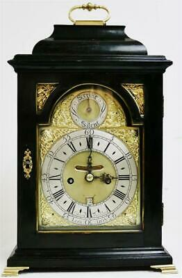 Rare Antique London C1700 Ebonised Double Fusee Verge Bell Top Bracket Clock