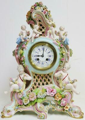 Rare Large Original Antique Hard Paste Meissen Porcelain 8 Day Mantle Clock