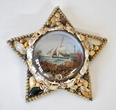 Antique Sailors Hand Made Valentine Shell Star Picture Marine Maritime