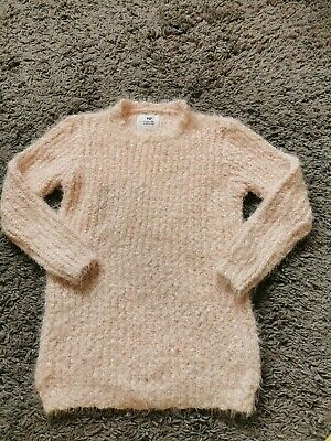 Girls Pale Pink Shaggy Fluffy Jumper Primark Age 12-13 Very Soft