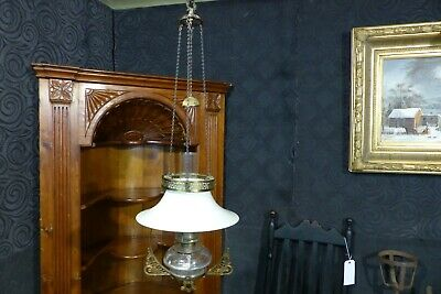 antique hanging oil lamp parlor country or drug store horse hanging library old