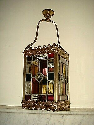 Victorian Stained Glass Hall Lantern,Antique Hall,Porch Light,Lamp