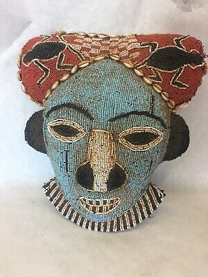 Beaded Bamun or Bamileke Mask from Cameroon Grasslands, Excellent Condition