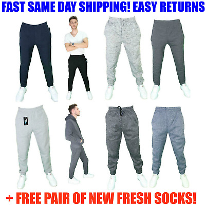 INVISIBLE DRAWSTRING Mens SLIM FIT Casual Jogger active Sweatpants Cotton Fleece