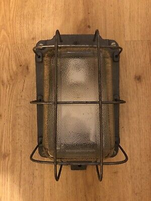 Rare Vintage Old Genuine Industrial Factory Wall / Sconce Cage Lamp Light