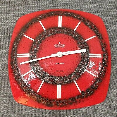 1960s 1970s German Pottery Red Junghans Ceramic Wall Clock Doesn't Work