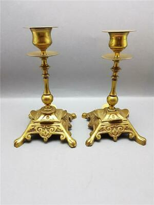 Beautiful Pair Of Vintage Brass Arts And Crafts Movement Candlesticks