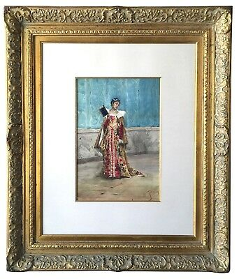19th C. Italian School Lady in Red Dress Gouache & Watercolor in Baroque Frame