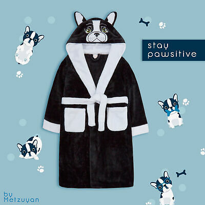 Kids Girls Animal Hooded Dressing Gowns French Bulldog Dog Face 3D Ears Pockets