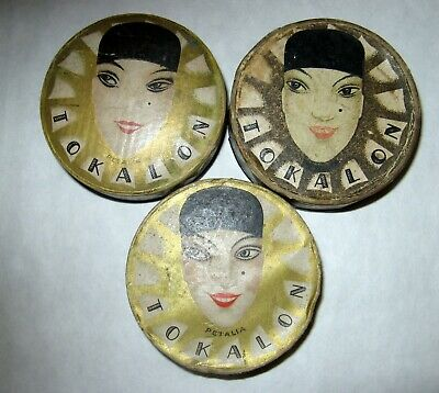 Art deco decoration Vintage TOKALON Bulgaria2Empty box and1with face powder rare