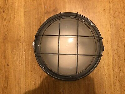 Rare Vintage Old Genuine Industrial Bulkhead Caged Ceiling/Wall Lamp Light