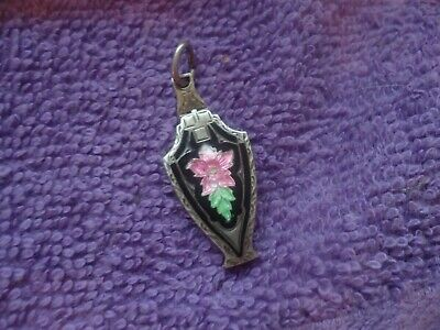 Guilloche Antiq/VTG Sterling Silver Black w/ Pink stem Rose Small Locket Marked