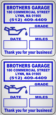 """Custom Oil Change Reminder Stickers w Removable  Premium Synthetic Stock  2""""x 2"""""""