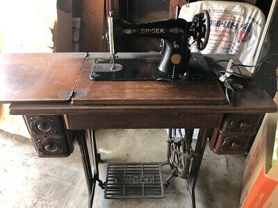 Singer Antique Sewing Machine With Treadle and Original Wood Top With 4 Drawers