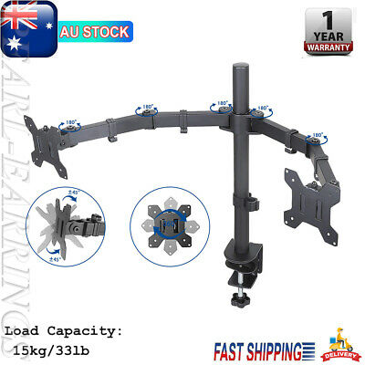 """TV Bracket 10""""-27"""" Dual LED Monitor C Clamp Stand Desk Mount 2 Arm Holder PEAR"""