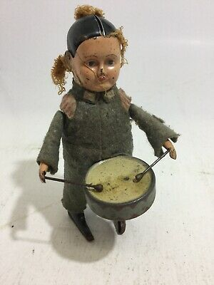 Schuco Wind Up Soldier Dancing German Boy Playing Drums Drummer Germany No Key