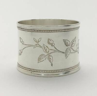 Beautiful Antique Ornate Engraved Sterling Silver Napkin Ring Bird Flowers