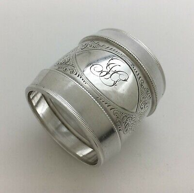 "Fabulous Antique Arsthetic Engraved Sterling Silver Napkin Ring ""JG"""