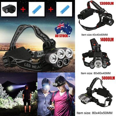 13000-50000LM LED Headlamp Rechargeable Headlight  T6 Head Torch Light 7M