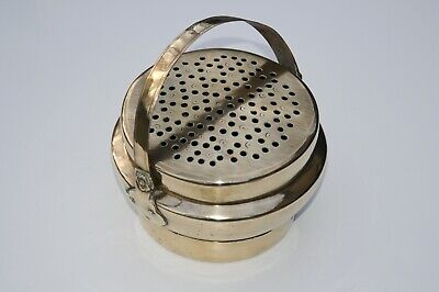 Antique Chinese Brass Hand Warmer with Pieced Lid & Swing Handle