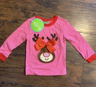 Boutique Girls Christmas Reindeer Rudolph Bow Top 2T