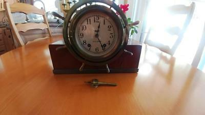 Vintage Seth Thomas Mayflower 3 Brass Ships Wheel Bell Clock 4302 Wood & Brass