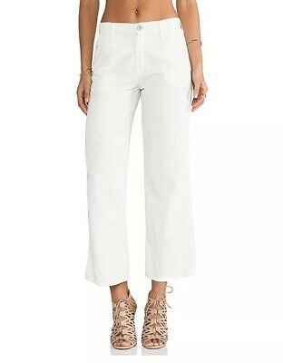 Mother Womens Size 26 The Greaser Prep On The Island White Wave Cropped Pants