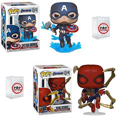 "Funko Pop Avengers Endgame : Captain America #573 + Iron Spider #574 Vinyl ""MINT"