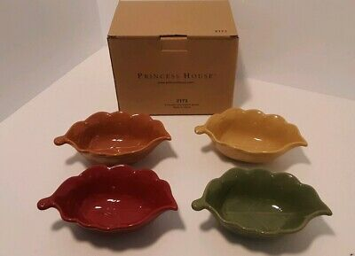 NIB 4 Princess House Pavillion Collection Stoneware Leaf Condiment Bowls 4 Color