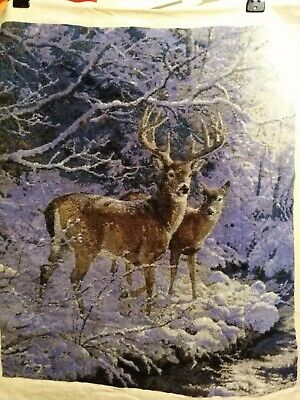 Hand Made Stag + Doe Picture Goblin Tapestry,Wall Hanging, Complete, Embroidery