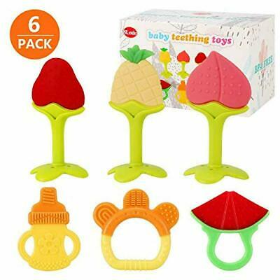 Natural Organic Baby Teething Toys for Newborn Infants (6-Pack) Freezer Safe