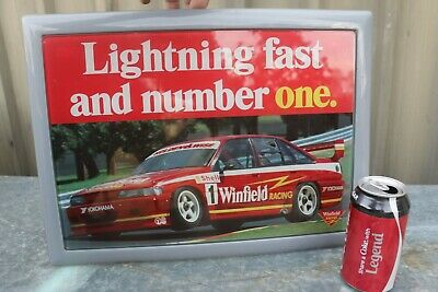 c1980s HOLDEN Racing Team WINFIELD CIGARETTE ADVERTISING PLASTIC GLASS SIGN