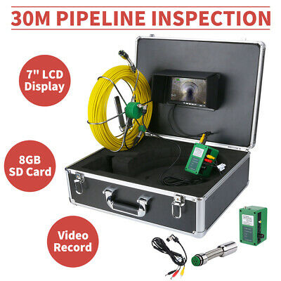 """30M 7"""" LCD Sewer Waterproof Camera Drain Ppie Inspection System With HD 8GB DVR"""