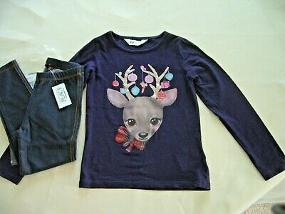 H&M L/S Christmas Reindeer Top 4-6 Years & Bnwt Indigo Leggings Children's Place