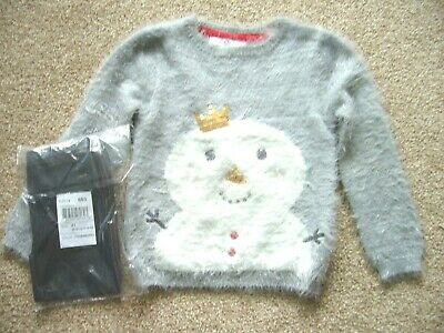 M&S Fluffy Knitted Jumper Snowman Det. 4-5 Years & Bnwt Indigo Leggings 4 Years