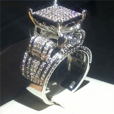 925 Sterling Silver Deluxe Promise Ring Solid Pave Setting AAAAA Cz Engagement