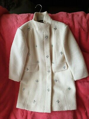 Bnwt Beautiful Next Cream Girls Coat With Diamante Detail And Butto ...