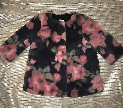 NWT Gap Baby Girl White Faux Fur Vest Floral Lined 3-6M 18-24M MSRP$27