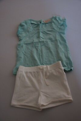 Girls Mint green M&S top and Baby GAP white short bundle - 3 years