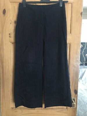 Ladies Girls Smart Navy Trousers Marks And Spencer Stripe Sz 12 Great Cond
